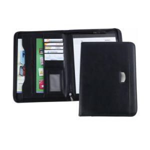 Zip Around Leather Portfolio Organizer 3-Ring Bound Padfolio with iPad Holder, Mobile Phone Holder