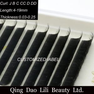 Double Natural Private Label Eyelash Extension with Mixed Different Length for Custom Order Individual Lashes pictures & photos