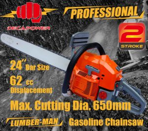 CE Certified Garden Tools 62cc Professional Gasoline Chainsaw (CS-6200)