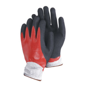 13 Guage Hppe Fibre Knitted Safety Gloves with Nitrile Fully Dipped Sandy Palm Ce En388 L-D136