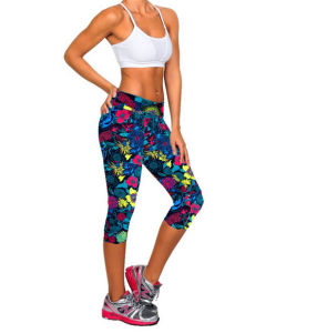 Womens High Waist Fitness Printed Stretch Cropped Leggings (50041) pictures & photos
