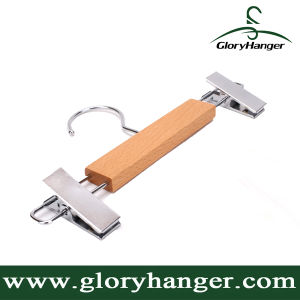 Wholesale Wooden Cloth Hanger with Metal Clips for Women Skirt (GLWH160) pictures & photos
