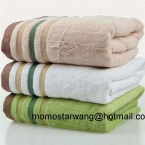 Wholesale Bamboo Bath Towels with Strip Dobby Border pictures & photos
