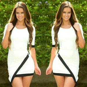 Women Stitching Short Sleeve Irregular Bandage Office Dresses White (50221) pictures & photos