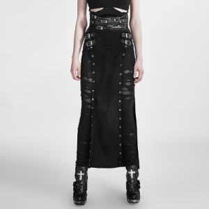 Q-298 Punk Woman Warrior Split High Waist Handsome Long Skirt with Metal Eyelets pictures & photos