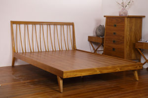 Solid Teak Wood King Size Bed for Home (STB-001)