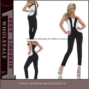 Black Leather Jumpsuit Fullbody Cat Woman PVC Lingerie Catsuit (TYLM115) pictures & photos