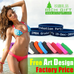Promotional Gift 1 Inch Width Custom Silicone Wristband Event Laser Engraving pictures & photos