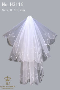 Fashion Handmade Beaded Lace Bridal Veil Short Paragraph pictures & photos