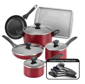 Amazon Vendor Dishwasher Safe Nonstick 15-Piece Cookware Set Red pictures & photos