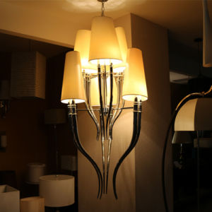 European Hotel Decorative Chrome Pendant Lamp with Fabric Shade pictures & photos