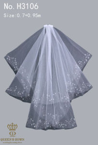 The New Hand-Beaded Lace Bridal Veil Short Paragraph pictures & photos