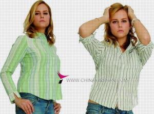 Women′s Leisure Cotton Blouse (WX09-001H)