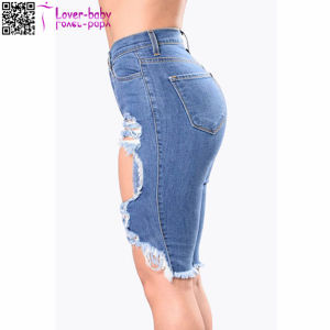 Hot Sale Fashion Blue Skinny Frayed Distressed Mini Pants Ladies Denim Shorts L539 pictures & photos