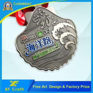 Factory Price Custom Metal Sports/Marathon Medal Antique Brass Medal with Ribbon (XF-MD13) pictures & photos