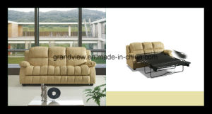 Contemporary 3-Piece Leather Transitional Sofal Set with Pull out Bed Beige pictures & photos
