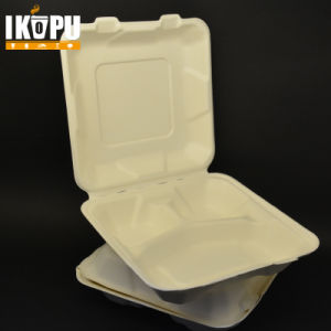 9 Inch Biodegradable Bamboo Pulp Takeaway Disposable Food Container pictures & photos