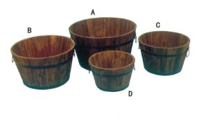 Large Round Outdoor Garden Wooden Flower Pot with Holdes pictures & photos