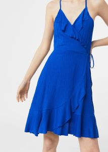 Flowy Fabric Ruffle Wrap Dress pictures & photos