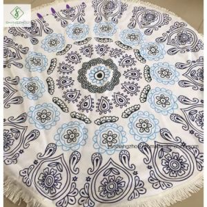 Wholesale Qualified Microfiber Printed Round Beach Towel with Tassel [Order] pictures & photos