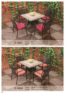 Outdoor 5-Piece Cast Aluminum Square Bronze Dining Chair and Table pictures & photos