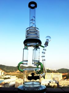Hbking Enjoylife White Percolator Smoking Glass Water Pipe High Quality Recycler Tobacco Tall Color Bowl Glass Craft Ashtray Glass Pipes Heady Beaker Bubbler Ha pictures & photos