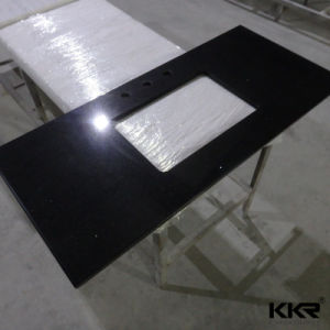 Direct Facotry Prefabricated Kitchen Black Pearl Pre Cut Quartz Countertops pictures & photos