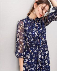 Ladies Fairy 3/4 Sleeve Printed Fashion Elegant Dress pictures & photos