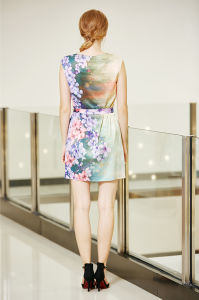 Tie Front Drop Shoulder Shift Satin Dress with Digital Placement Floral Print pictures & photos