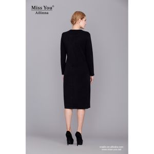 Miss You Ailinna 801590 Women Black Long Sleeve Wool Dress pictures & photos