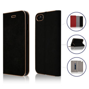 C&T Premium Leather Folio Flip Stand Wallet Electroplate Bumper TPU Inner Frame with Card Folder Case for iPhone 7 pictures & photos