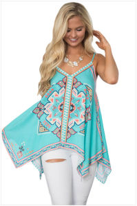 Bluish Tribal Print Summer Holiday Tank Top pictures & photos