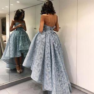 Evening Dress Strapless Blue Lace Hi-Low Party Dress E1327 pictures & photos