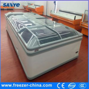 2100mm Curved Glass Door Chest Frozen Combined Island Freezer pictures & photos