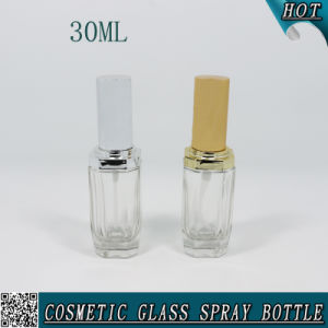 1 Oz 30ml Unique Polygon Clear Glass Bottle Cosmetics with Pump Sprayer pictures & photos