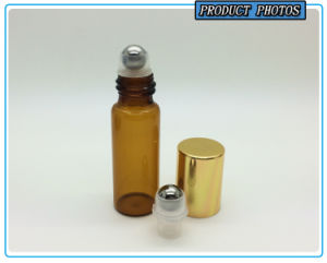 5ml Amber Glass Roll on Bottle with Gold Cap and Metal Roller Ball pictures & photos