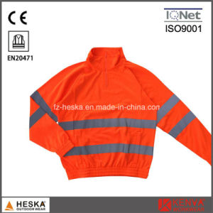 1/4 Zipper Orange Knitted Long Sleeve Shirt pictures & photos