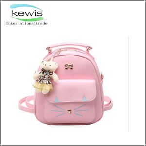 Good Quality Pink Color PU Leather Women Backpack pictures & photos