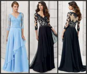Black Lace Mother Evening Dresses Blue Formal Gowns Mt102 pictures & photos