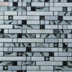 Hot Sale 8mm Thick Mixed Color Crystal Glass and Marble Stone Mosaic for Swimming Pool pictures & photos