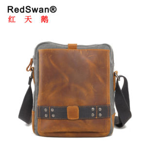 Red Swan Small Vintage Canvas + Leather iPad Bag Cross Body Bag (RS-6005) pictures & photos