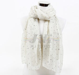 Star Print White Soft and Warm Voile Scarf