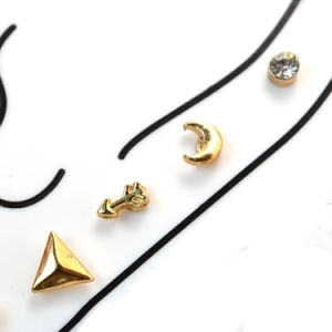 Gold Plated Cute Geometry Set Rhinestone Stud Earrings pictures & photos