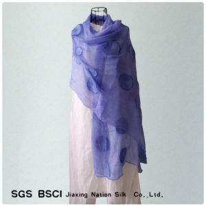 Women Blue Silk Georgette Long Scarf pictures & photos
