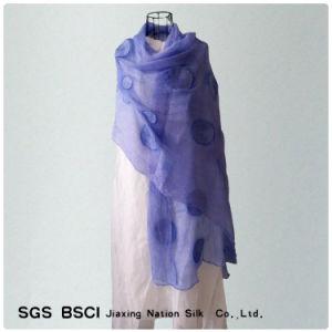 Women Blue Silk Georgette Long Scarf