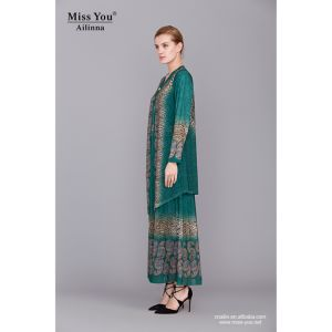 Miss You Ailinna 801873 Two Piece Ladies Elegant Muslim Long Dress pictures & photos