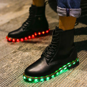 New Premium LED Leather Boots, Unisex Luminous Fur Boot pictures & photos