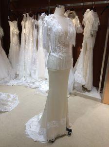 Beach Straps V Neck Sheath Champagne Wedding Dress pictures & photos