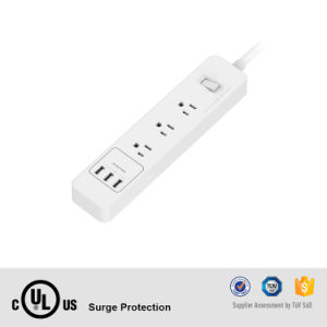110V Electrical Power Bar 3 AC Sockets Us Surge Protector with USB pictures & photos