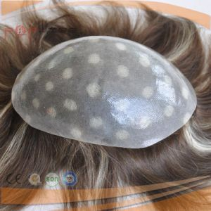 Human Hair Full Poly Coated Mens Hair Piece System, Toupee pictures & photos